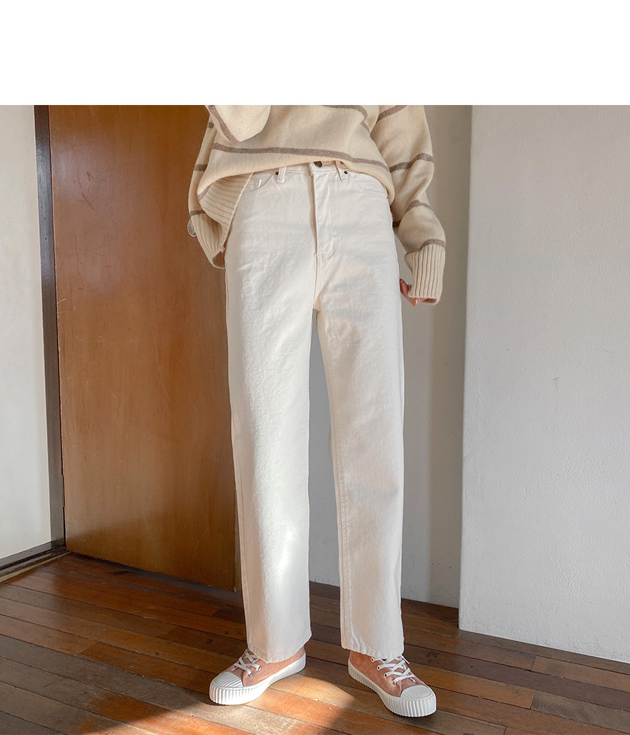 Formal Cream Straight Wide Pants