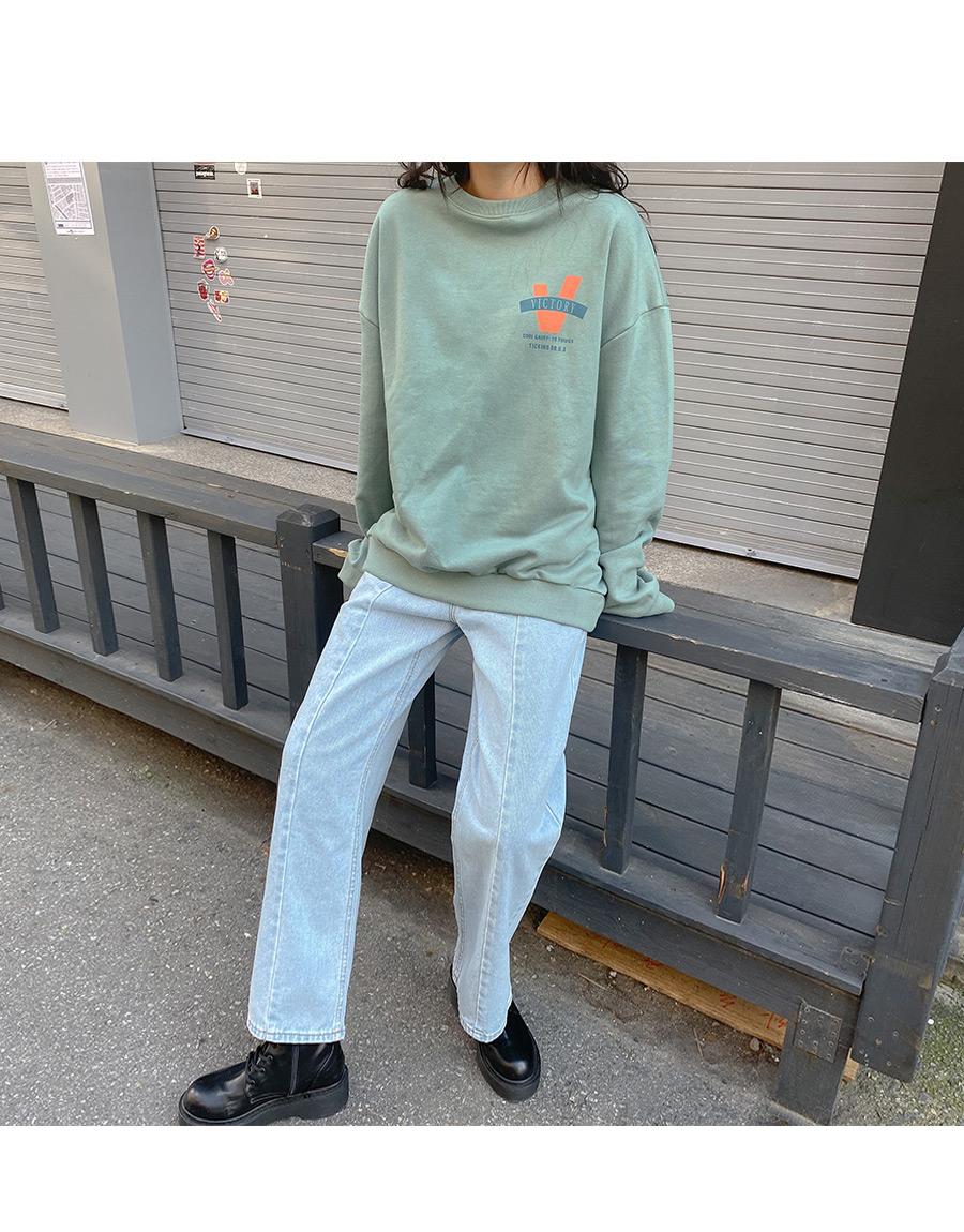 Long strap pin tuck denim pants