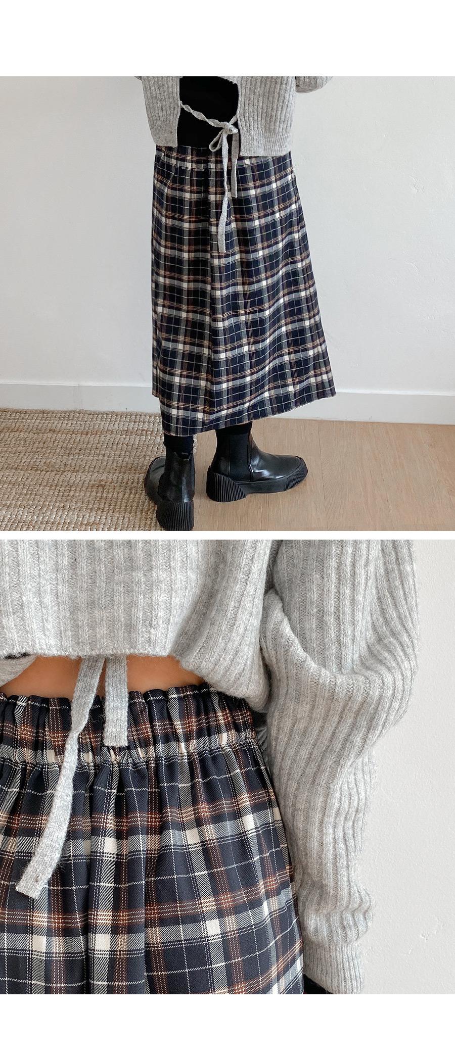 Hazel Check Wrap Long Skirt