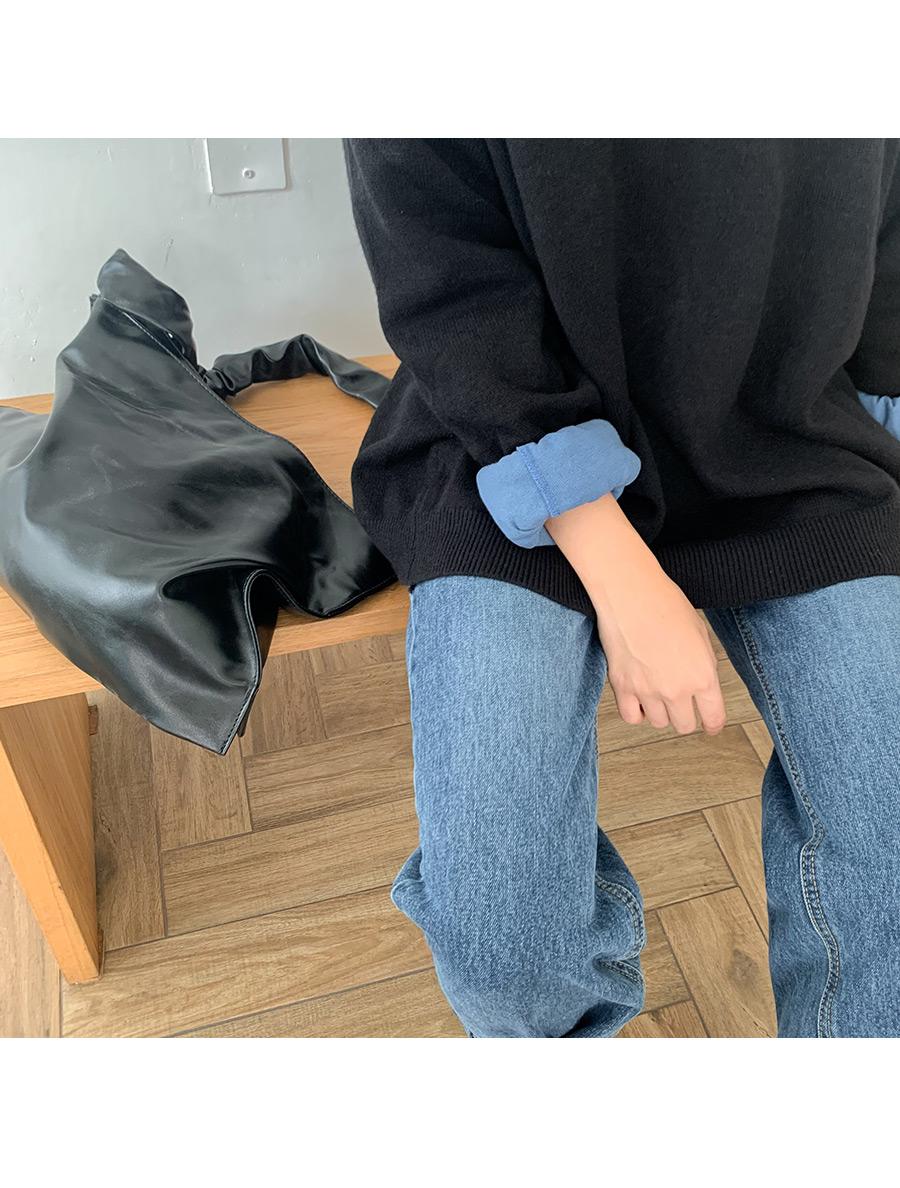 Wrinkle leather shoulder bag