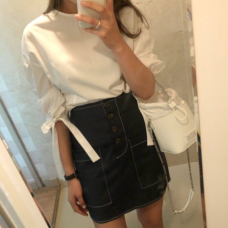 Pocket button skirt