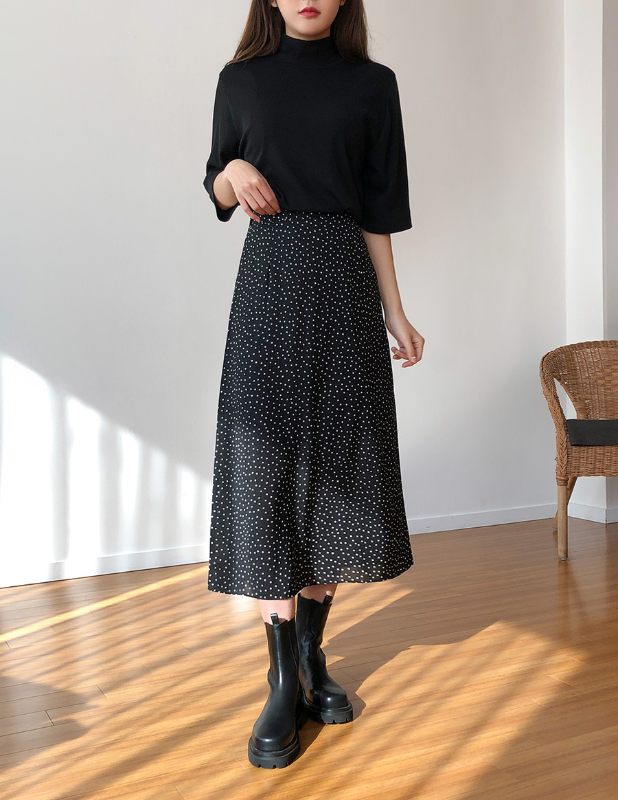 Dot Long Back Bending Skirt