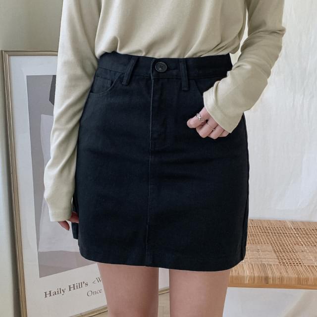 Semi-A Line Cotton Mini Skirt