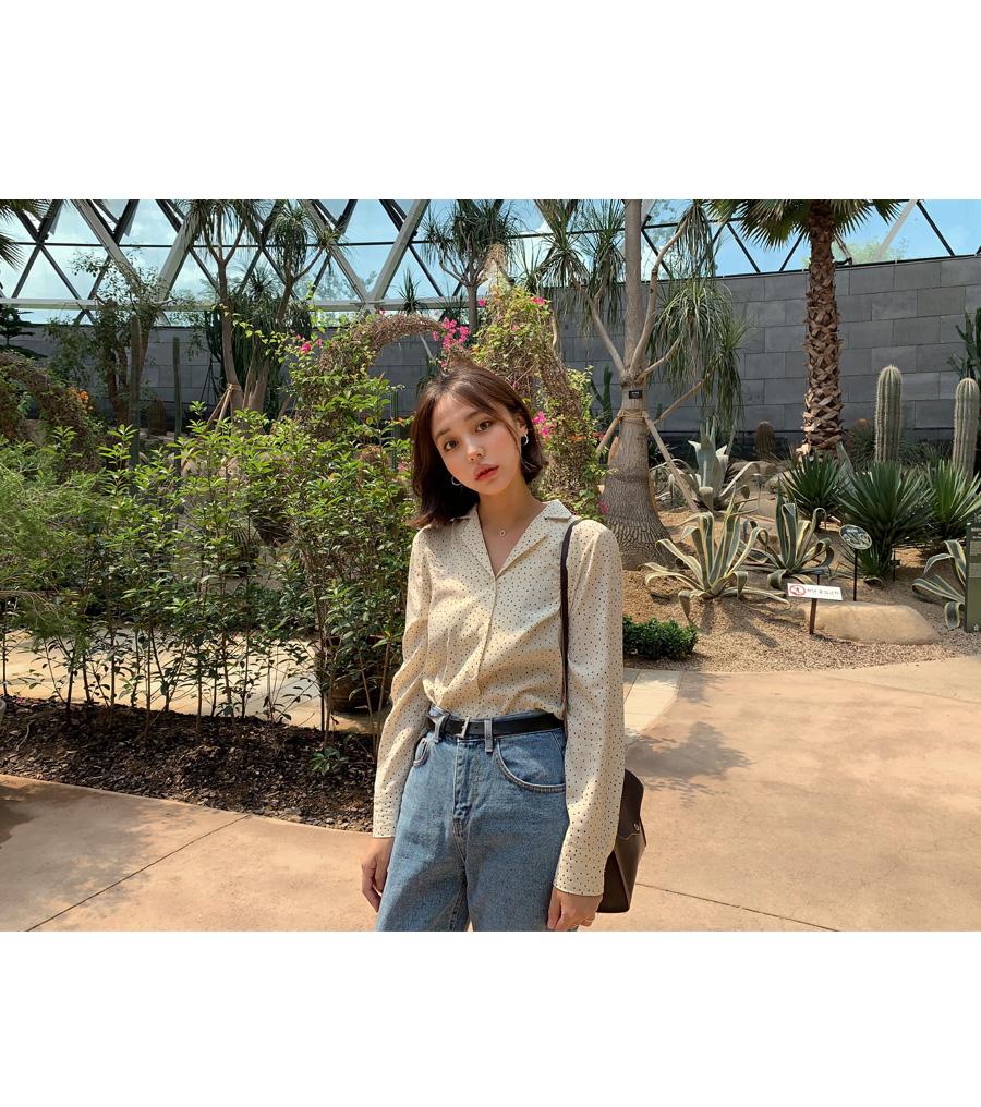 V-neck dot blouse