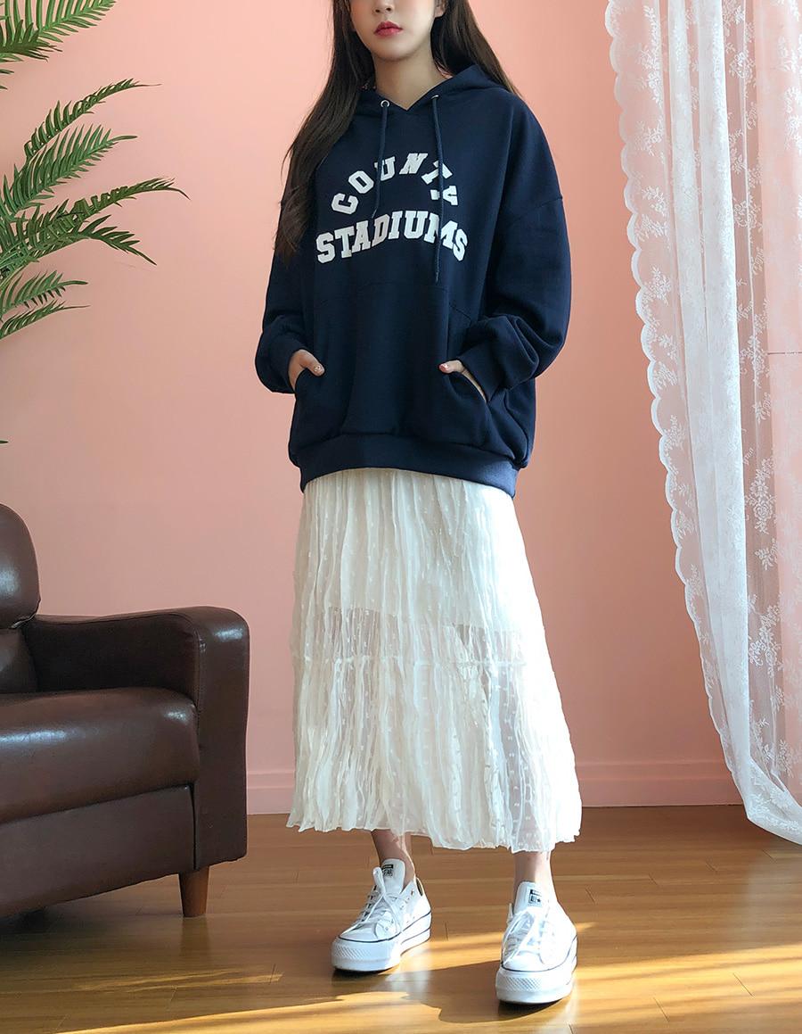 Dot Wrinkle Long Skirt