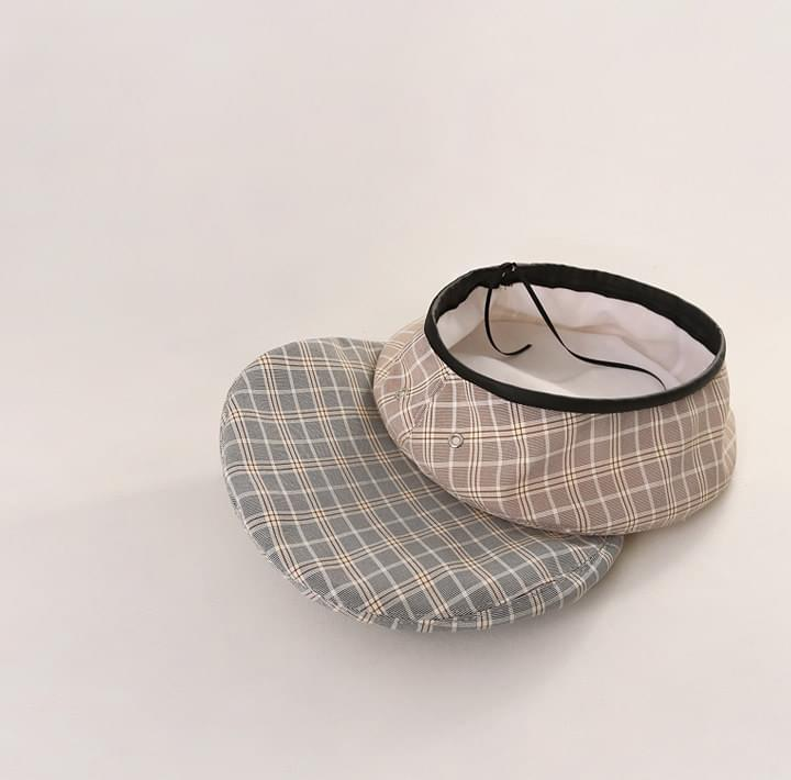 HOTIN LEATHER LINE CHECK BERET 帽子