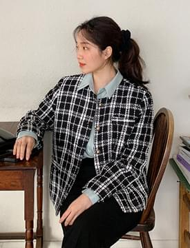 Tweed check round jacket_C ジャケット