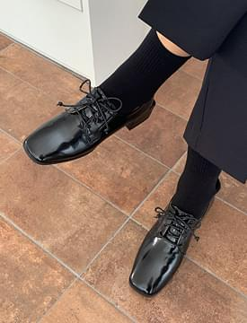 Glossy line lace-up shoes_C フラット