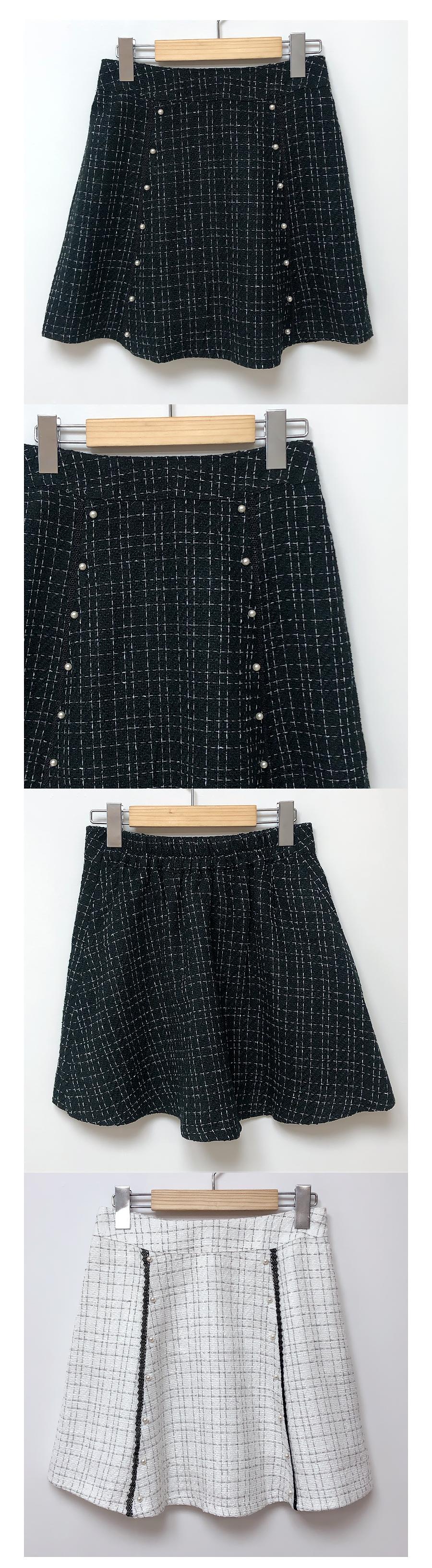 Lan tweed pearl skirt pants