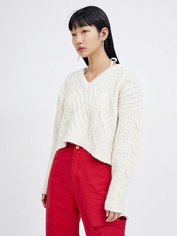 v-neck crop cable knit - woman