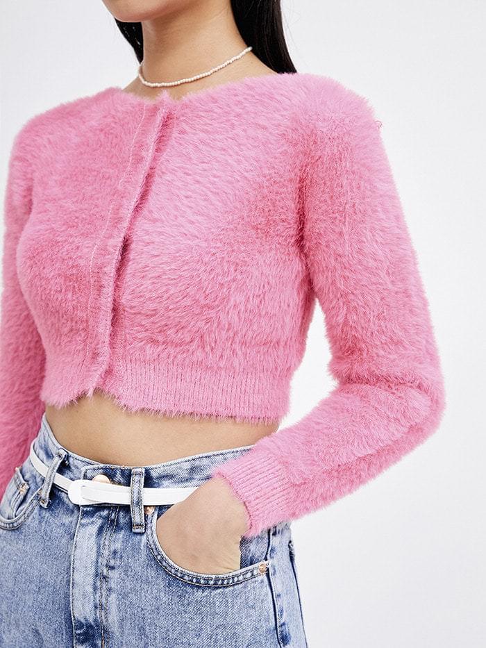 smooth knit crop cardigan (2 color) - woman