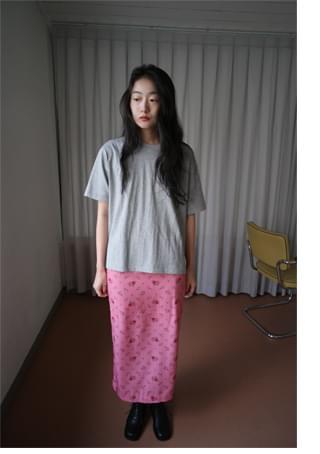 vintage flower H-line skirt