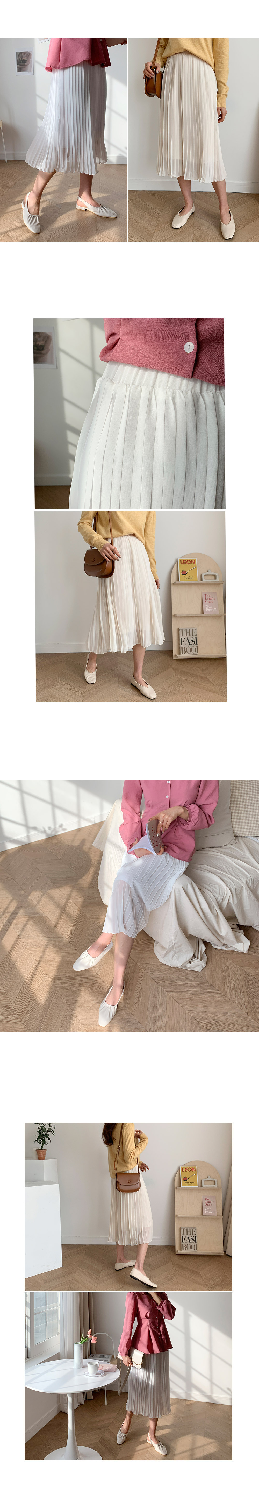 Miring pleated long skirt