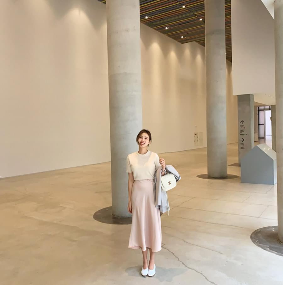 Silk banding skirt skirt