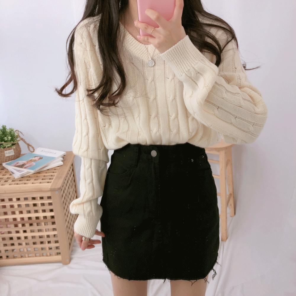 韓國空運 - Basic tulle V-neck knit 針織衫