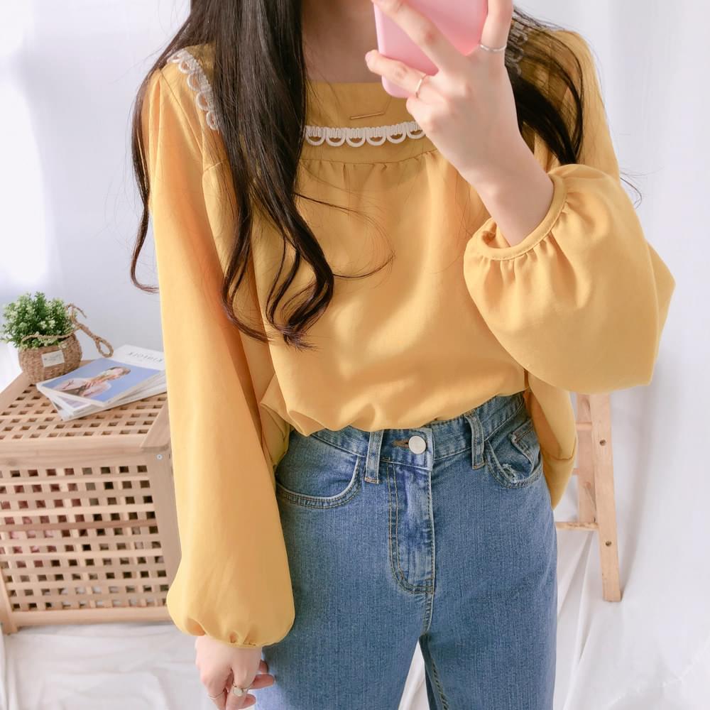 Latte boxer lace blouse