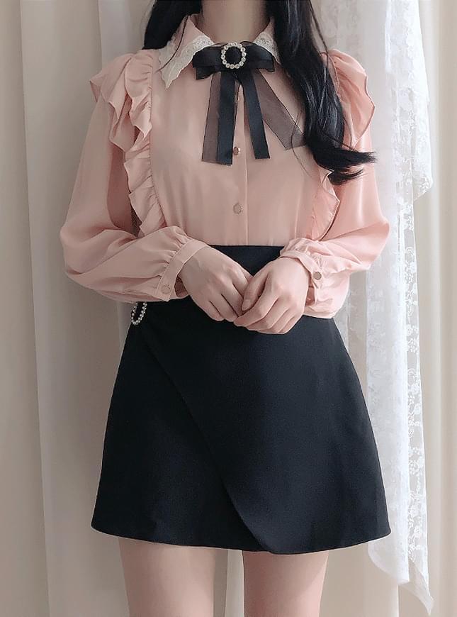 Broochset ♥ jennifer ruffle blouse
