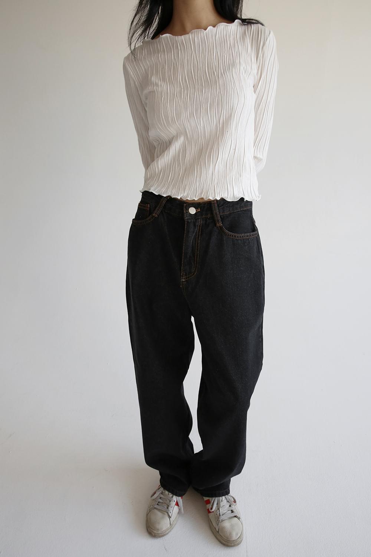 wide pot denim pants (black)