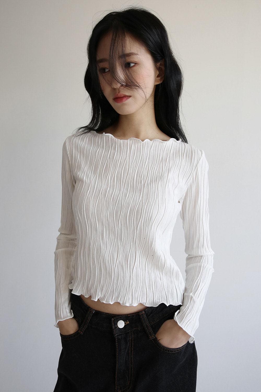 cotton pleats top Long Sleeve