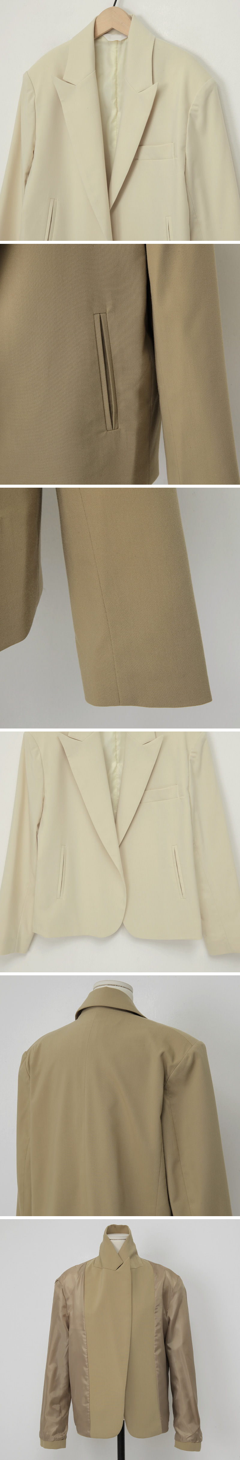 Cream open simple jacket_J (size : free)