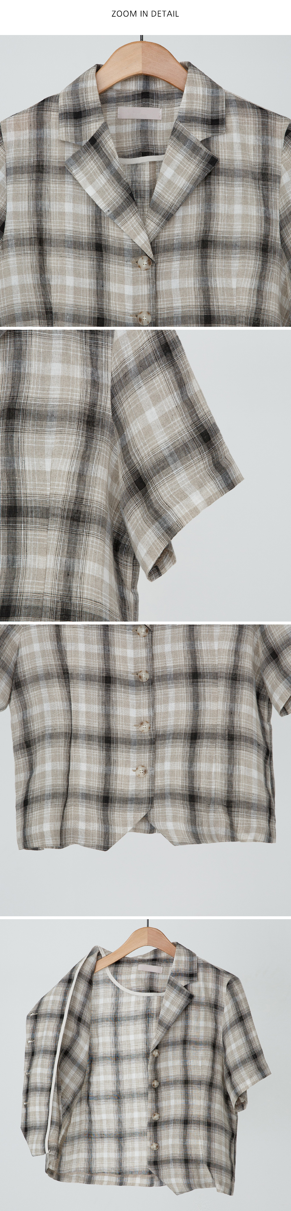 Natural check linen short-sleeved jacket