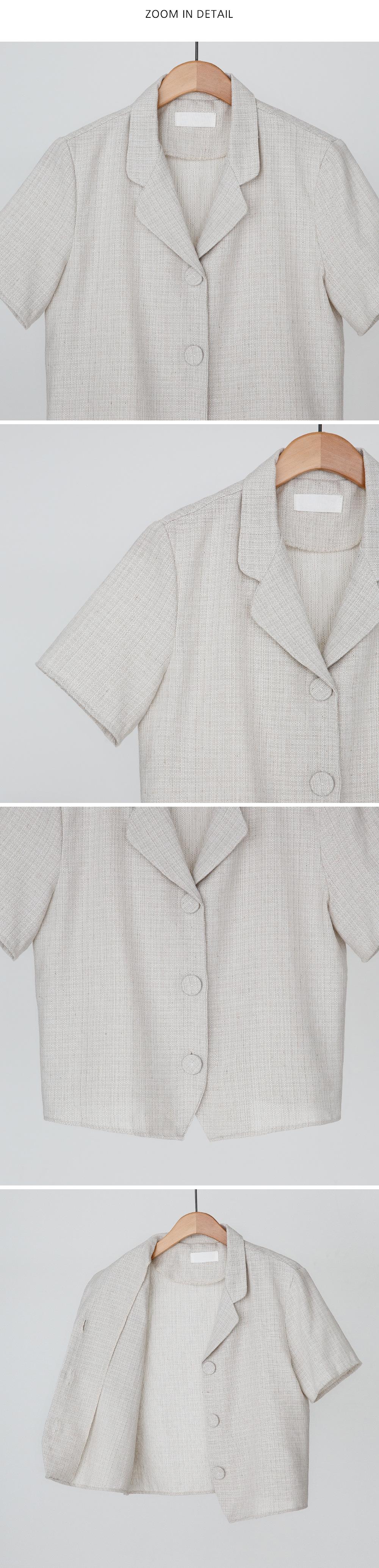 Open collar neck short sleeve blouse jacket