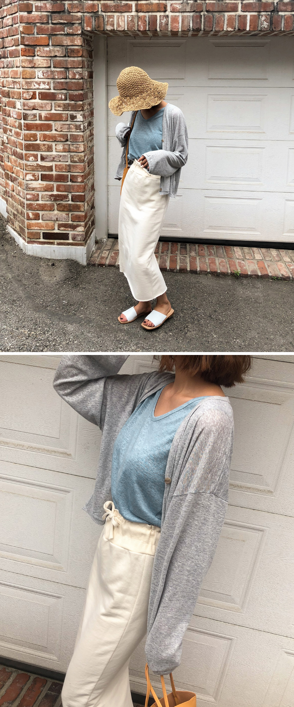 Trimmed loose fit linen cardigan
