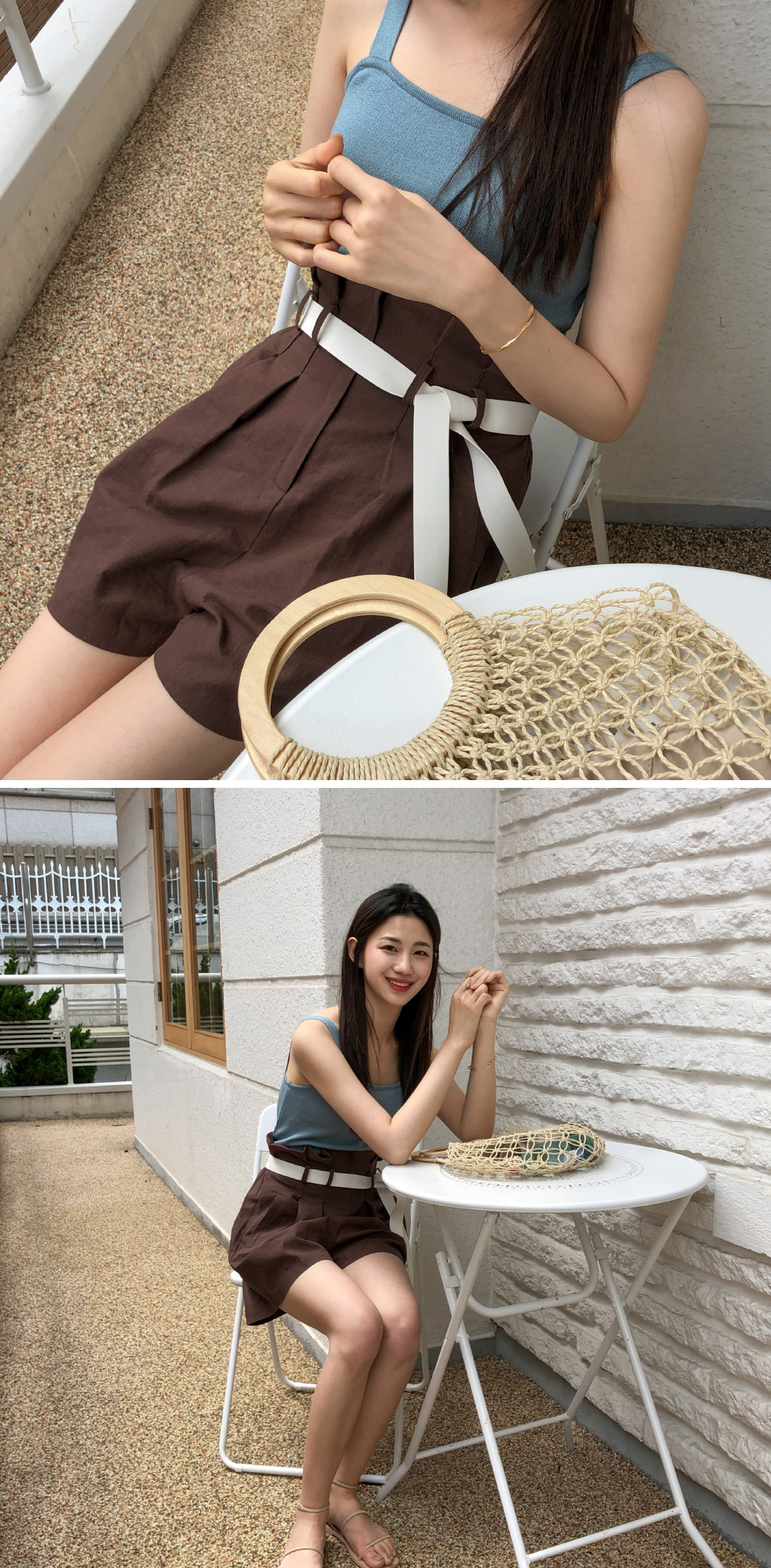 Daily loose fit linen short-sleeved jacket