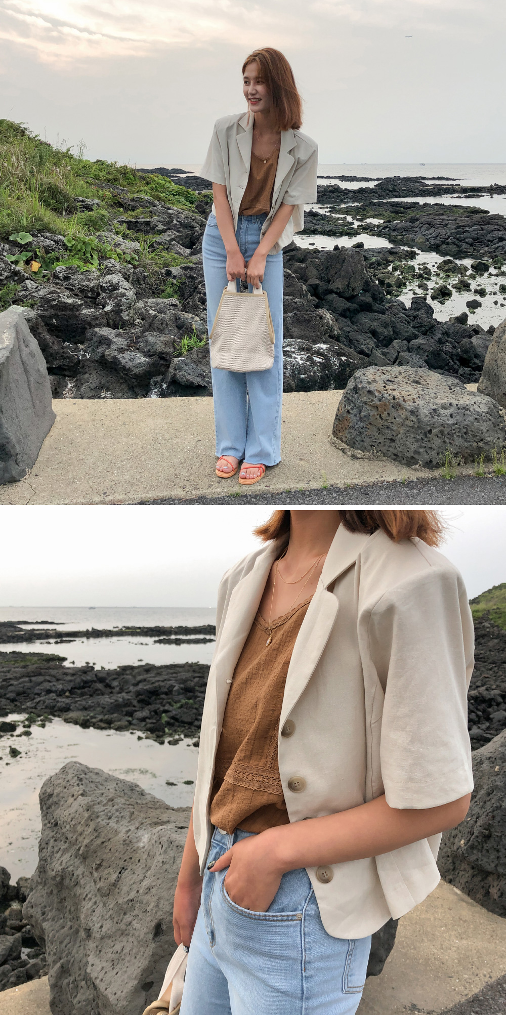 Daily linen short sleeve cropped jacket