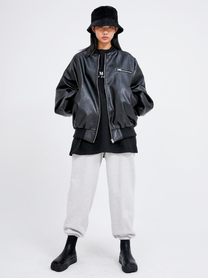leather ma-1 jumper (2 color) - woman