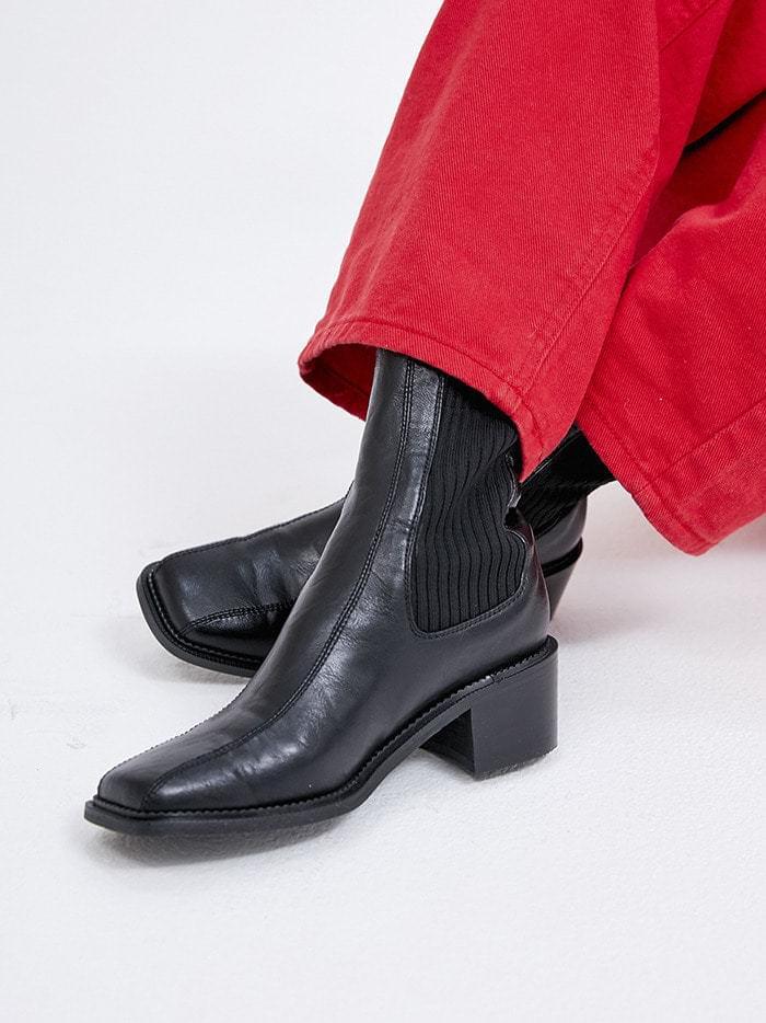 square line chelsea boots