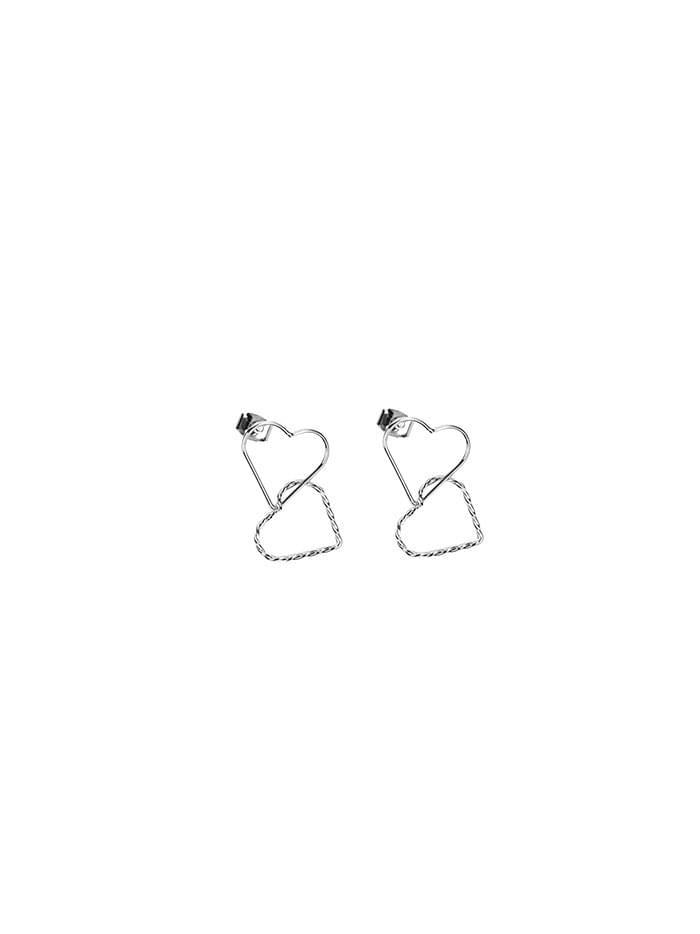 twin heart earring (2 color)