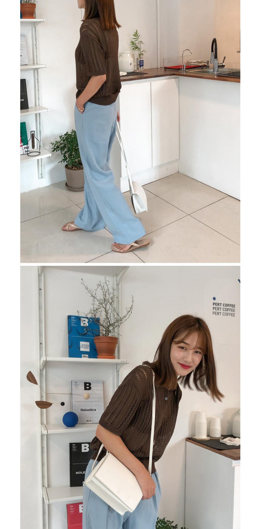 Cara Neck See-Through Short Sleeve Knit