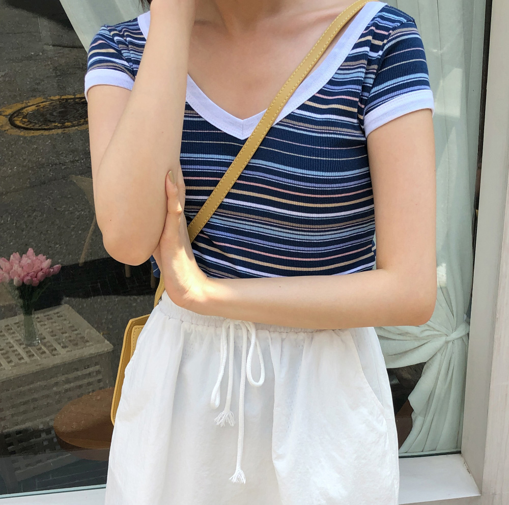 Slim Fit Color Stripe Tee
