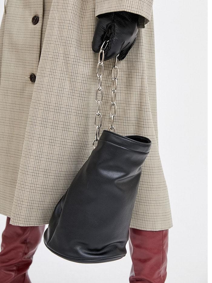 2way leather chain bucket bag 肩背包
