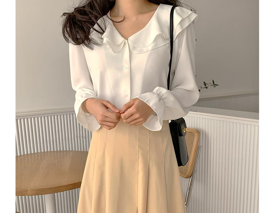 W frill collar blouse (size : free)