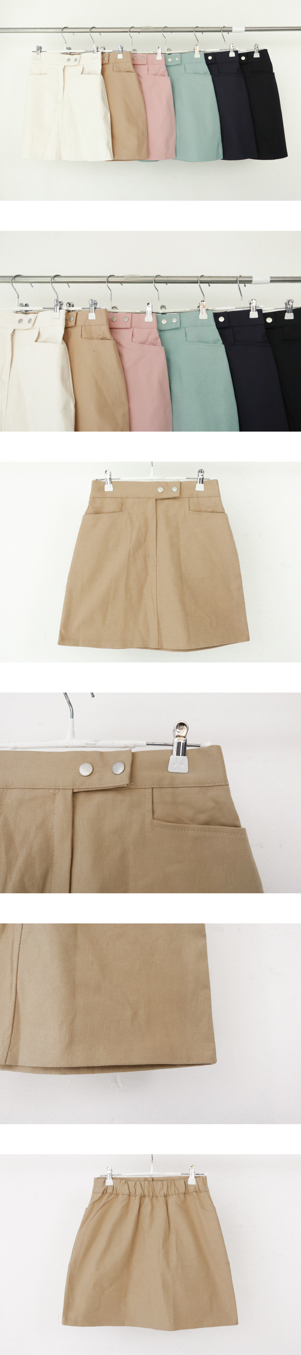 Spring and spring two-button skirt