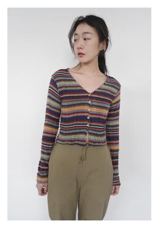 color mix V-neck cardigan (2colors)