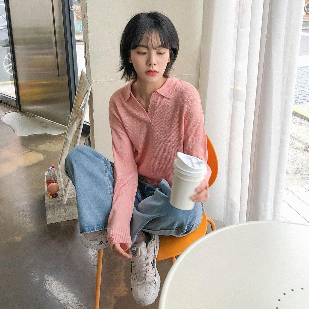 Basic spring collar knit