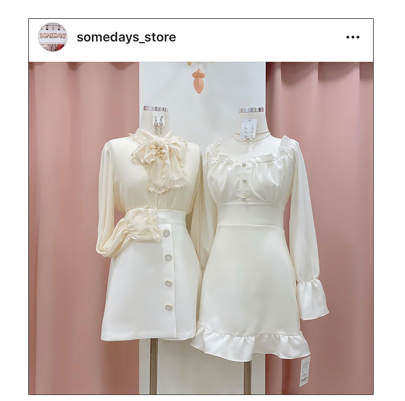 Chern pearl shoulder dress
