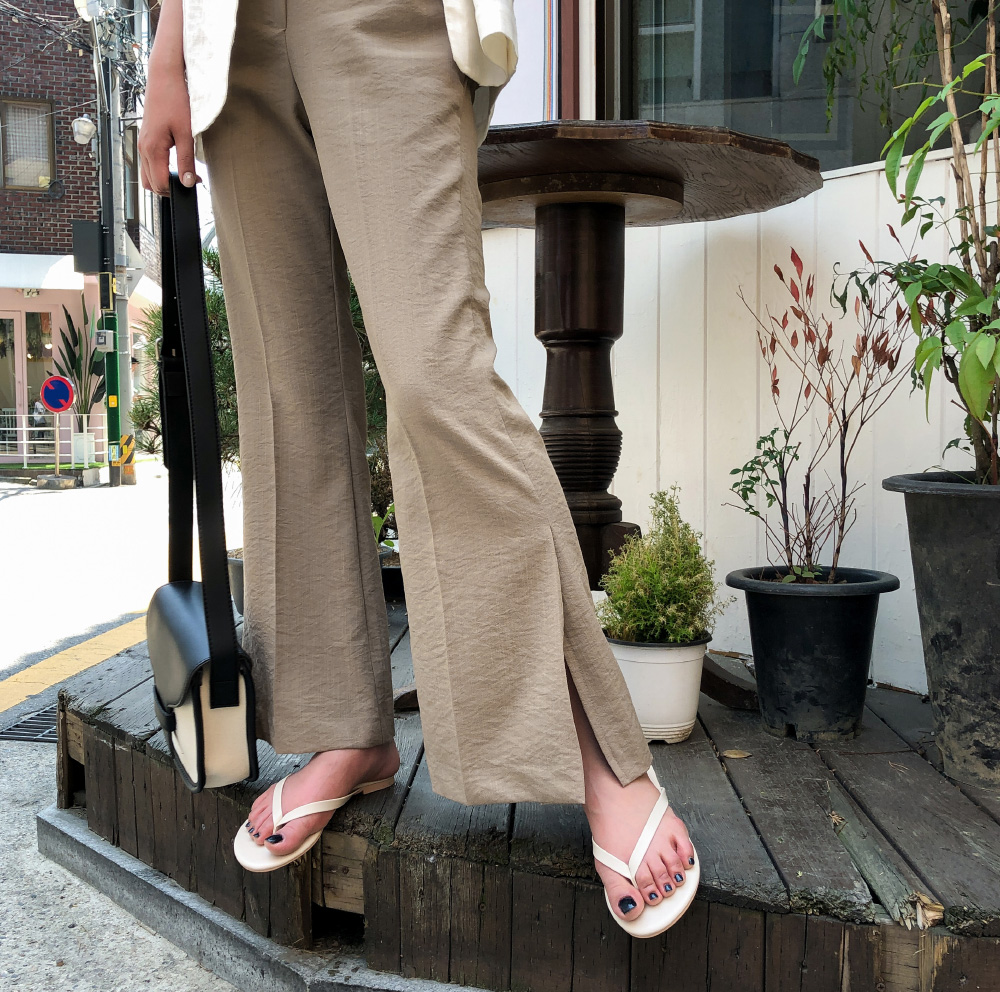 Side trim bootcut banding slacks