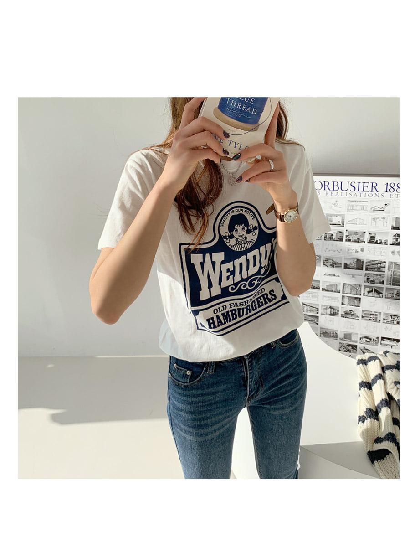 Wendy printing short-sleeved T-shirt