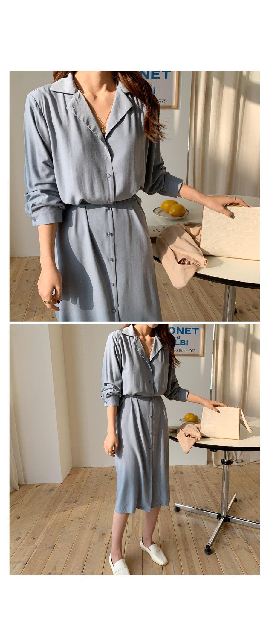 Chiffon tail collar long dress