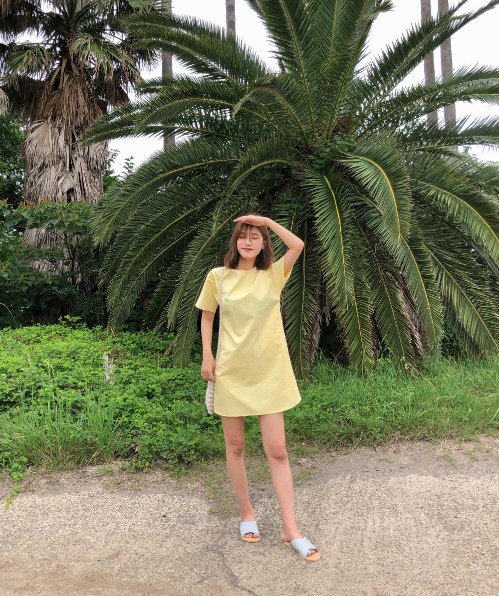 Rear V-neck A-line Mini Dress