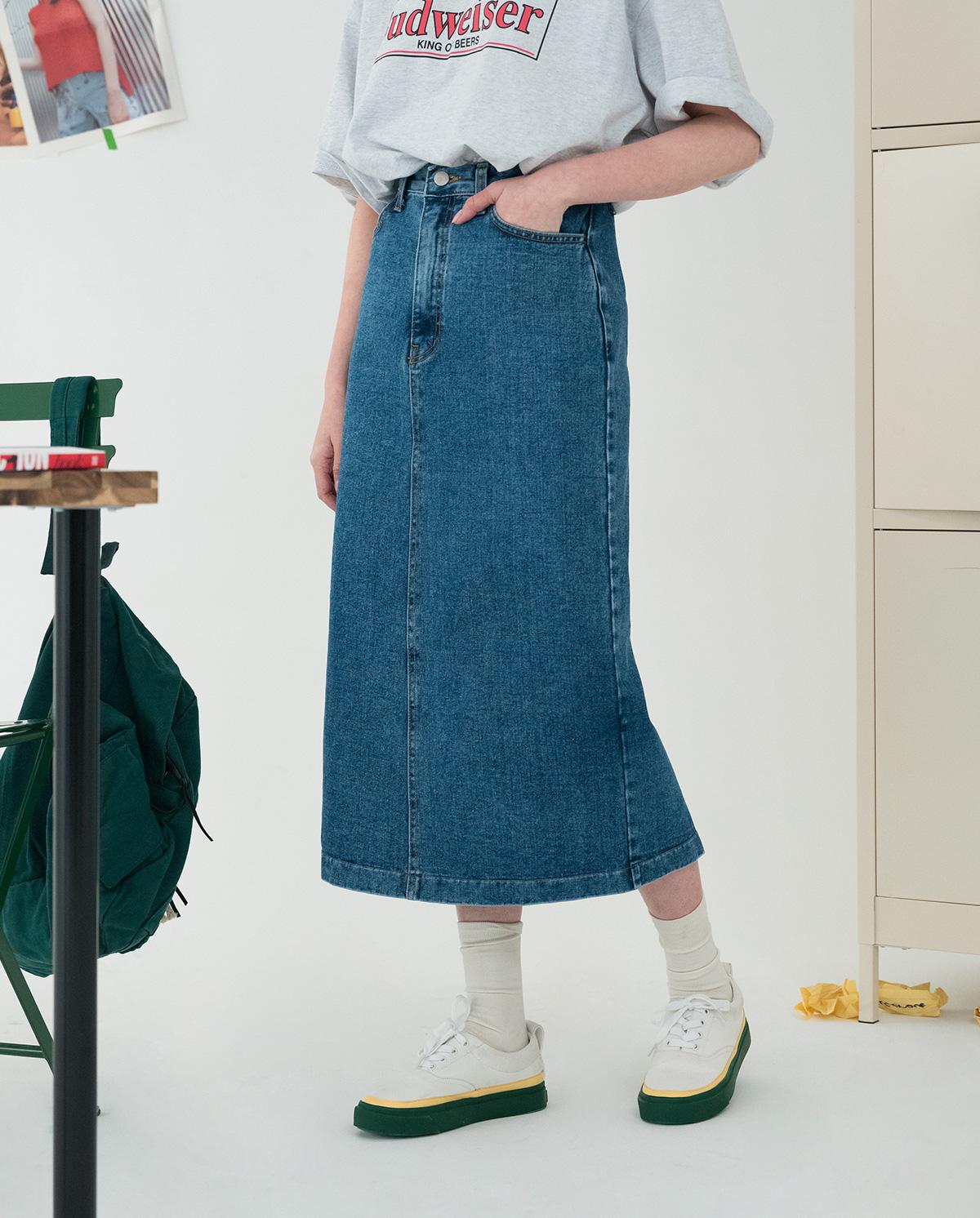Daily back denim long skirt