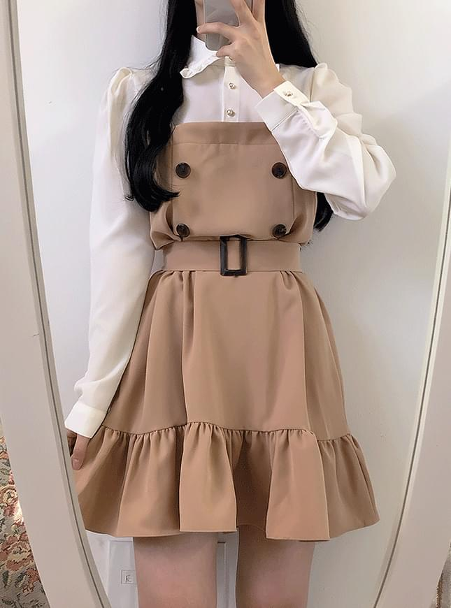 Single production ♥ Belt set Burberry color dress dresses
