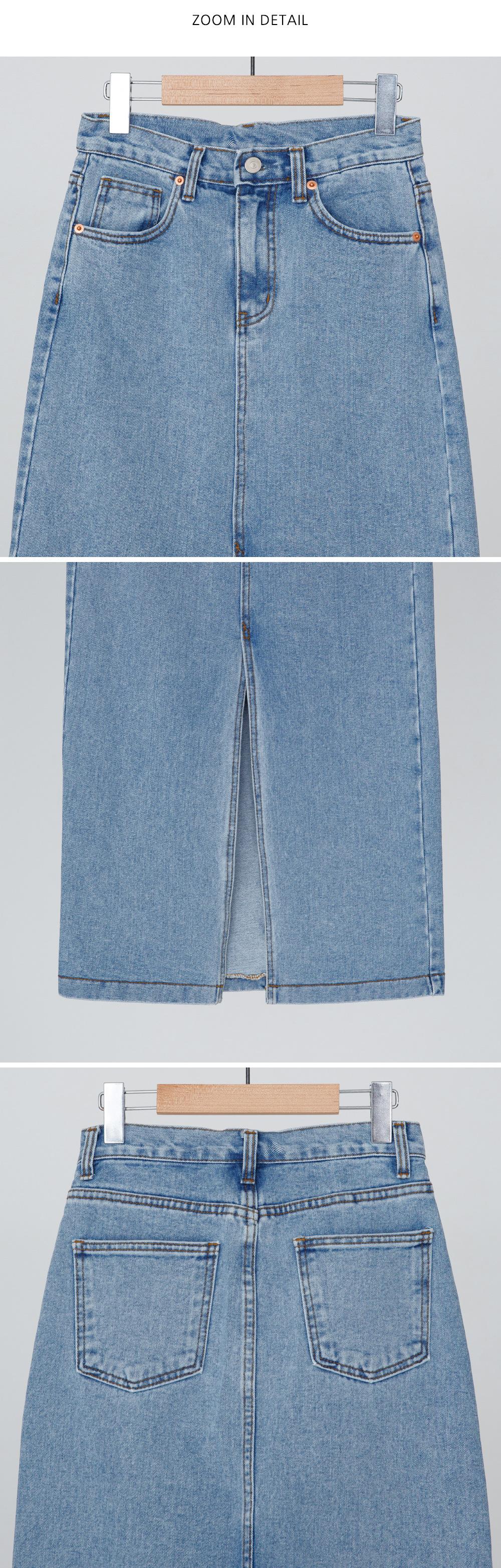 Front denim long skirt