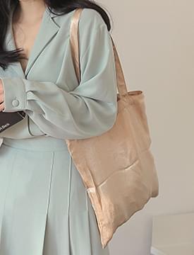 Glossy satin eco bag_J (size : one)
