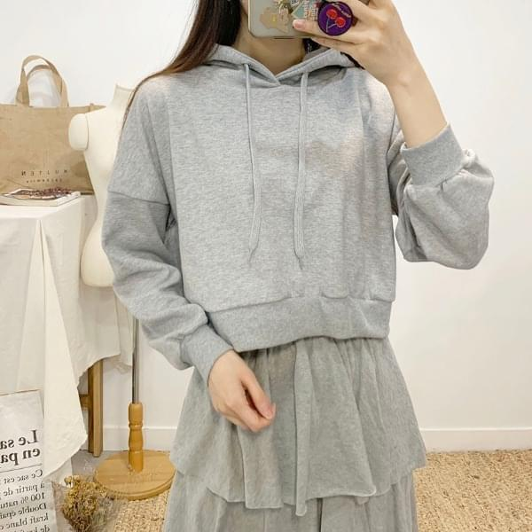 ELBERRETT plain color cropped hooded T-shirt