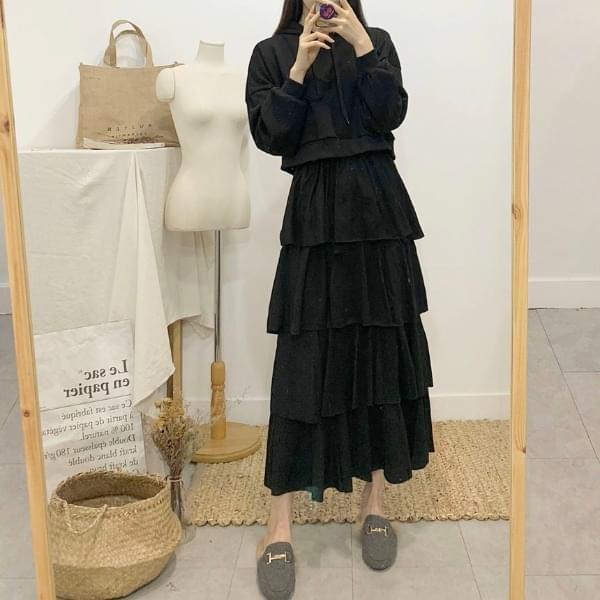 Cellose Frill Cancan Long Skirt
